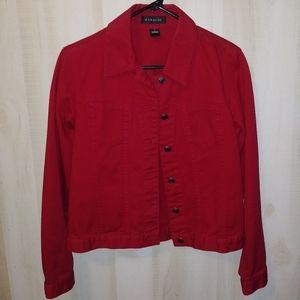 Harold's Red Denim Jacket Small